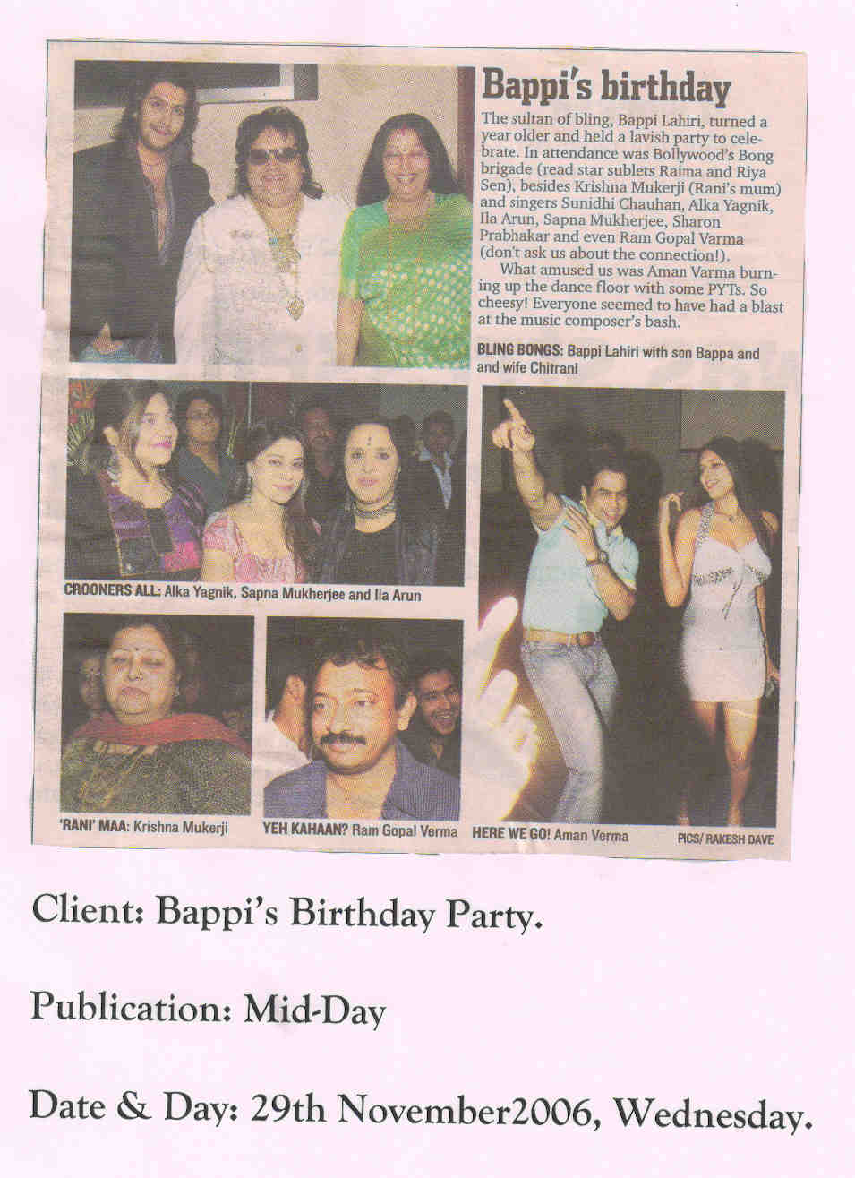 Bhappi Lahiri Birthday Party Coverage